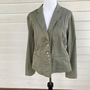 Chico's Sz 1 Olive Green Cotton Jacket